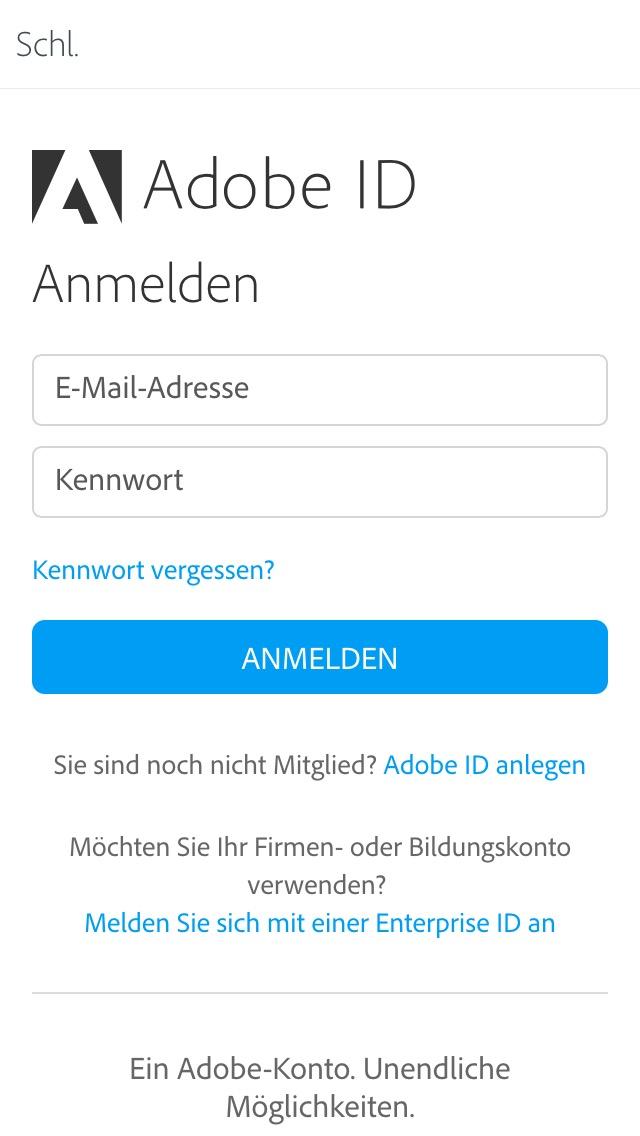 Comp Anmeldung Screenshot